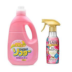 Combo nước xả vải cao cấp 2L hương hoa + chai xịt thơm và làm phẳng quần áo - Tặng túi giặt bảo vệ quần áo Nhật Bản