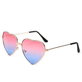 Fashion Women Sunglasses UV400 Eyeglass Dames Heart Shaped Zonnebril Sun Glasses Eyewear, Thin Metal Frame Lovely Heart