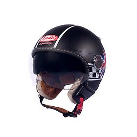 Mũ Bảo Hiểm Andes 3/4 Đầu Có Kính - Luxury 210C Tem Nhám DD28 - Đen Phối Trắng