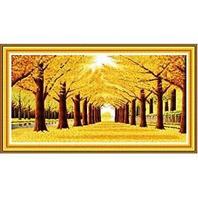 Tranh thêu chữ thập thêu kín Rừng Lá Vàng (134*74cm) chưa thêu