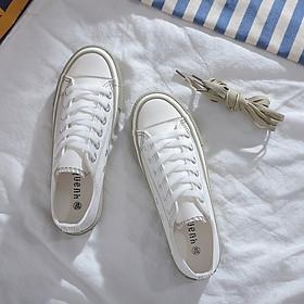 IELGY Hong Kong wind canvas shoes female Korean version of Harajuku retro wild flat white shoes
