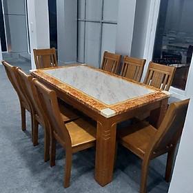 Bàn ăn mặt đá gỗ tự nhiên nhập khẩu MD042 1M6 8 ghế