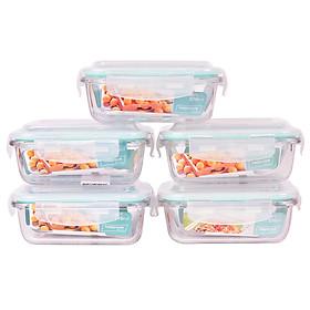 Bộ 5 Hộp Thủy Tinh Chịu Nhiệt Nắp Gài Hình Chữ Nhật Glass Happy Cook HCG-037R*5 (370ml / Hộp)