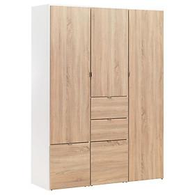 Tủ quần áo JYSK Nautrup gỗ công nghiệp trắng/sồi R149xC200xS50cm