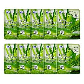 Combo 10 Gói Mặt Nạ Dưỡng Ẩm Da Chiết Xuất Nha Đam 3W Clinic Fresh Aloe Mask Sheet (23ml x 10)
