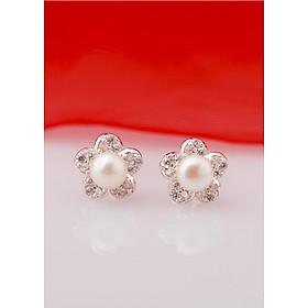 Bông tai bạc kiểu dáng bông hoa năm cánh đính ngọc trai thiết kế từ thương hiệu OPAL - E10