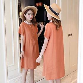 Váy bầu cam đất cổ sen cộc tay MYC 1295