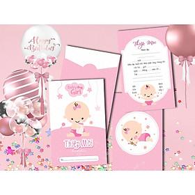 Combo 20 thiệp mời sinh nhật bé gái ôm bình hồng DQ-2051-K