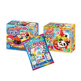 Combo 3 hộp kẹo sáng tạo popin cookin: cơm bento + sushi + thế giới sắc màu