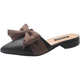Giày Nữ Sục Mũi Nhọn Thắt Nơ Đế 3p