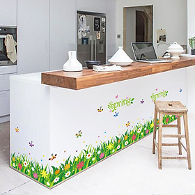 Decal dán chân tường Hoa cỏ xanh mùa xuân AmyShop DCT036 - 2 bộ  ( 60 x 270 cm )