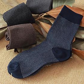 Set 3 đôi Tất vớ Nam cổ cao đi giày công sở, họa tiết đơn giản