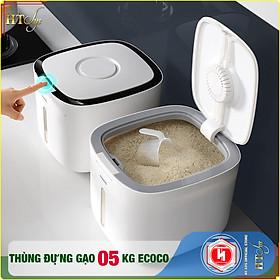 Thùng đựng gạo thông minh 5KG-HT SYS - ECOCO-E2029-Thiết kế dạng nhấn nút-Chống kiến, chống ẩm, chống mọt-Chất liệu ABS cao cấp + 01 Sét móc vàng tài lộc + 04 Khăn Lau [ Hàng Nhập Khẩu ]