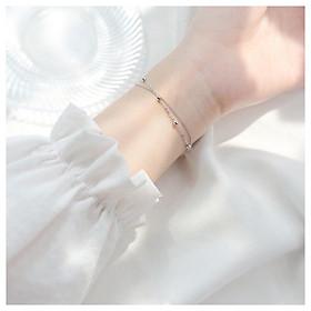 Lắc tay bạc Pansy Store, vòng tay layer Galix Bracelet