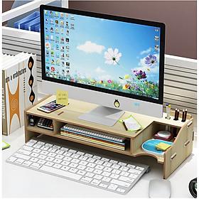 Kệ máy tính để bàn kệ đỡ màn hình vi tính giảm mỏi cho dân văn phòng kệ sách kệ hồ sơ để bàn kèm cắm viết bằng gỗ 2 màu nâu sáng tùy chọn - Tặng kèm 1 móc khóa khung hình thời trang