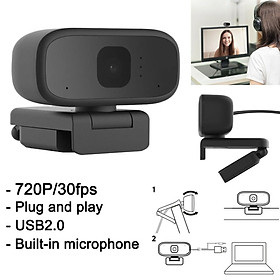 720P HD Live Camera Office Remote Conference Webcam Desktop Laptop Computer PC Camera Built in Microphone Clip-On