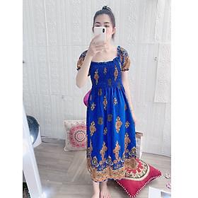Đầm xuông nữ họa tiết thổ cẩm