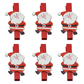 Bộ 6 Kẹp Ảnh Gỗ Trang Trí Giáng Sinh - Ông Già Noel Ngộ Nghĩnh