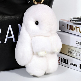 Digaren sprouting rabbit keychain pendant genuine car keychain chain backpack bag hanging decoration dead doll gift box decorated rabbit hair gift pink