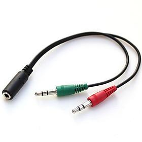 Dây Audio chuyển tai nghe 3.5mm đầu cái sang 2 đầu Mic và Tai nghe đầu đực