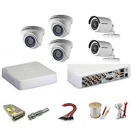 Trọn bộ 5 camera Hikvision 1.0 Megapixel - Hàng chính hãng