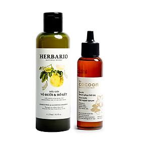 Combo dầu gội bưởi bồ kết Herbario 270ml + Serum phục hồi tóc hư tổn Cocoon 70ml