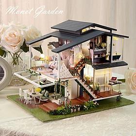 Mô hình nhà DIY Doll House Monet Garden Kèm Mica Chống bụi, Bộ dụng cụ và Hộp nhạc