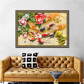 Tranh treo tường - tranh cá cửu ngư quần hội - Cá chép hoa sen: 2396L8