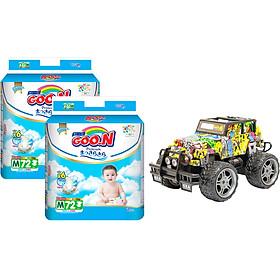 Combo 2 bịch Tã dán Goon Premium cao cấp gói siêu đại M72 (7kg ~ 12kg) + Bộ đồ chơi xe điều khiển cao cấp