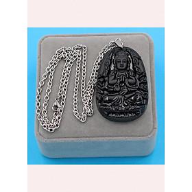 Hình đại diện sản phẩm Vòng cổ phật Thiên Thủ Thiên Nhãn - thạch anh đen 6cm DITTES8 - dây inox - kèm hộp nhung - tuổi Tý
