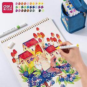 Bút màu marker 2 đầu túi vải Deli - mực có thể rửa được - có đầu brush và vát - 30 màu/40màu/60màu/80màu -70808