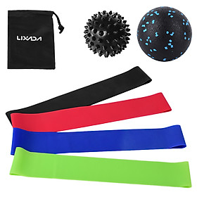 Exercise Resistance Loop Bands with Fascial Ball Spiky Ball Elastic Booty Band Massage Balls Set for Yoga Home Gym