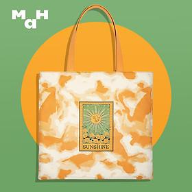 Túi Tote Canvas Trendy Mực In Họa Tiết Sunshine Thương Hiệu MAH (Có thể Đựng Sách Vở, Laptop )