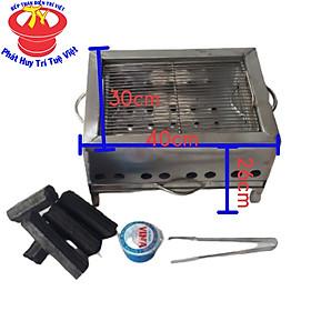 Bếp nướng than hoa than củi vuông Trí Việt kích thước 30x40cm kèm than không khói cồn nhóm than kẹp đá