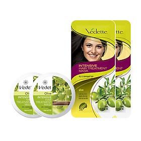 Bộ 2 Hũ Ủ Tóc Olive Vedette Chắc Khỏe tặng 2 Mặt Nạ Tóc Tiện Lợi 260g