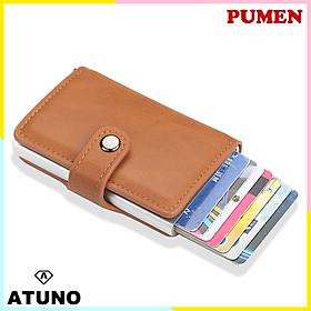 Ví Mini Cầm Tay, Ví Đựng Thẻ ATM, Giấy Tờ Tùy Thân ATUNO AT01 Nhiều Ngăn Kèm Nút Bấm - Hàng Chính Hãng - Màu Nâu