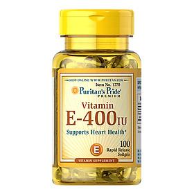 Thực Phẩm Chức Năng - Viên Uống Bổ Sung Vitamin E Giúp Đẹp Da, Chống Lão Hóa, Hỗ Trợ Tim Mạch Puritan'S Pride Vitamin E-400 Iu 100 Viên
