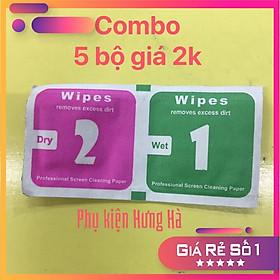 Combo 5 bộ 1.2  giấy lau màn hình điện thoại, ipad, kính, Máy tính bảng, ống kinh....v.v.v