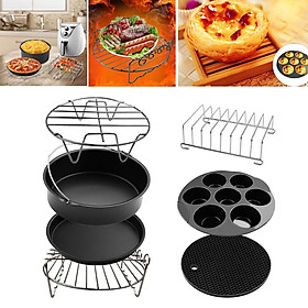 7Pcs/Set Air Fryer Accessories 8inch Cake Barrel Pizza Pan Fit 4.8QT to 6.3QT