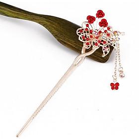 Trâm cài tóc nữ đóa hoa hồng ĐỎ gắn điệp phong cách cổ trang