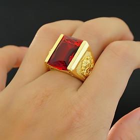 Nhẫn nam  mạ Vàng 24k mặt đá đỏ N9 - Tặng Kèm Hộp Trang Sức