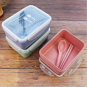 Hộp đựng cơm văn phòng lúa mạch tặng kèm đũa thìa, hộp bảo quản thực phẩm tiện ích mã HC21 - giao màu ngẫu nhiên