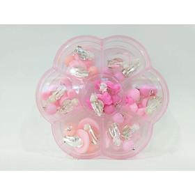 Khuyên tai kẹp cho bé nhựa Acrylic họa tiết hoạt hình màu hồng 7 cặp hình bông hoa