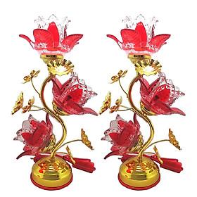 Bộ 2 đèn thờ pha lê hoa Tulip đỏ  VDT-214