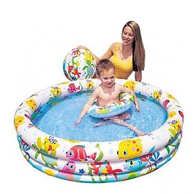 COMBO Bể Bơi Phao 3 Tầng 3 Chi Tiết ( kèm phao và bóng ) + 01 khăn tắm đẹp 60x130 cm