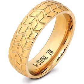 Nhẫn nam titan mạ vàng 24k hình bánh xe khắc chữ S- STEEL