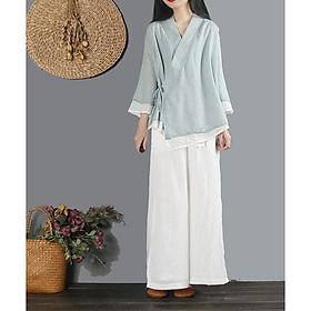 Trang phục đi lễ chùa, tập thiền & yoga nữ cổ chéo Thiền Chay 2 lớp màu lam nhạt