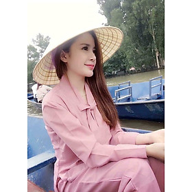 Áo Lam Đi Chùa -  La Hán Nơ Màu Hồng