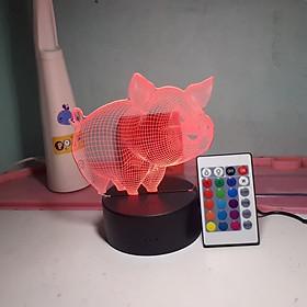 Đèn ngủ trang trí LED 3D 16 màu mini có điều khiển