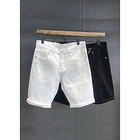 Quần Siêu co giãn jean short quần bò ngố nam trắng đen trơn thanh lịch